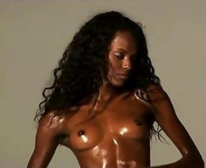 chocolate skin flexible African model wide gams opening