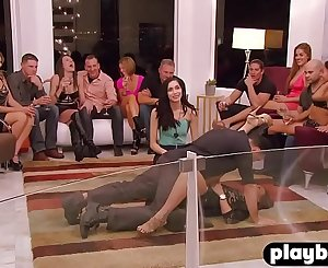 Hot couple jumped into group orgy sex in a redroom