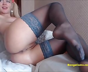 Amazing striptease from blonde girl ending with solo show
