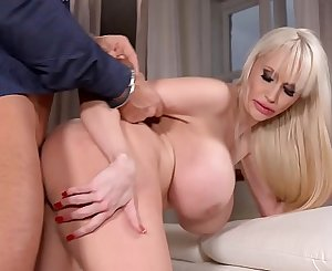 Busty honey Sandra Star handcuffs beau & gets her big tits fucked hard