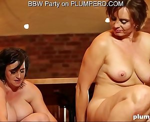 2 Mature Fat Ladies enjoying the cleaning boy
