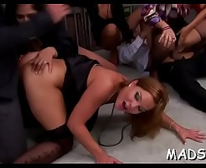 Horny lustful angels enjoy a masculine treat at a sex party