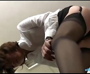 Office Lady Sitting To Guy Face Getting Her Hairy Cunt Licked In The Office
